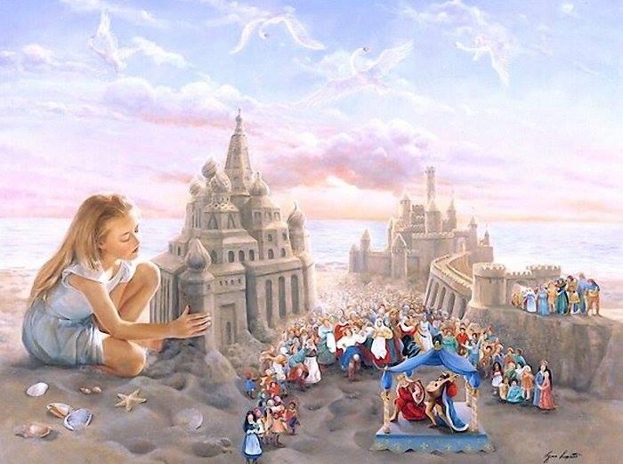 девочка и песочный замок